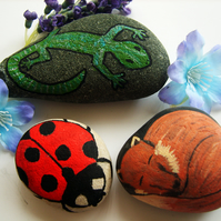 Trio of Hand-painted Animal Stones