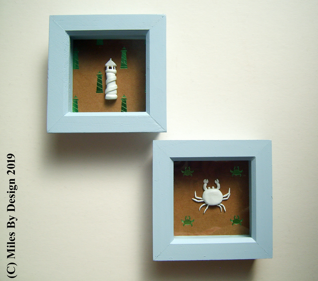 Set of 2 Seaside Themed Box Frames