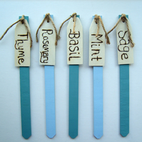 Set of 5 Wooden Herb Plant Markers