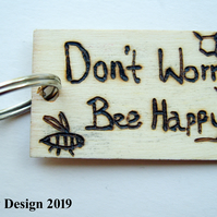 Bee Happy Pyrography Keyring