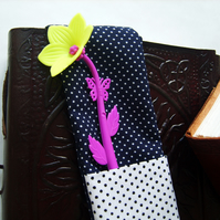 Fabric Pen Holder Bookmark with Yellow Flower Pen