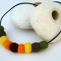 Autumn Themed Needle Felted Necklace