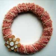 Hanging Blush Pink Wool & Pearl Wreath