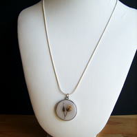 Real Flower Bud Pendant With Sterling Silver Chain