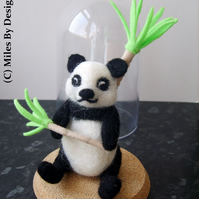 Needle felted Panda In Plastic Bell Jar Display Case