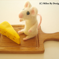 Needle Felted Mouse On Wooden Chopping Board With Polymer Clay Cheese