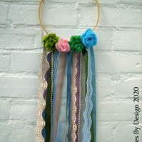 Felt Succulent and Flower Ribbon Wooden Hoop Hanging