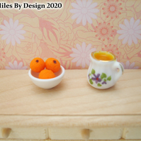 1:12 Scale Oranges In a Bowl with Orange Juice China Jug