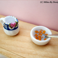 1:12 Scale Cornflakes in Breakfast Bowl with Milk Jug
