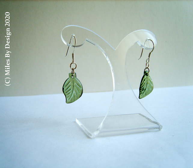 Green Leaf Drop Earrings On Sterling Silver Ear Hooks