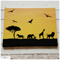 African Animal Silhouettes, Sunset Canvas, Wall Art, Home Decor