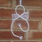 Faux Pearl Hugging Angel Sun-catcher Wall Hanging with Ribbon Wings