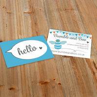 250 printed business cards on 400gsm silk - small business stationery