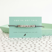 BREATHE Beaded Bracelet in Grey - Wrist Reminder - Wish String