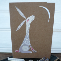 Moon staring hare greetings card