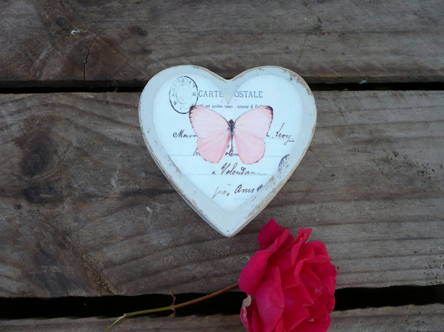 Pink butterfly decoupaged heart box