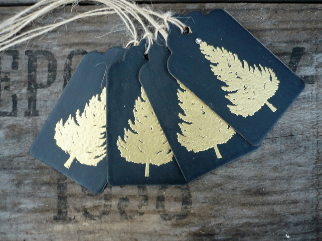 Gift tag with gold embossed tree