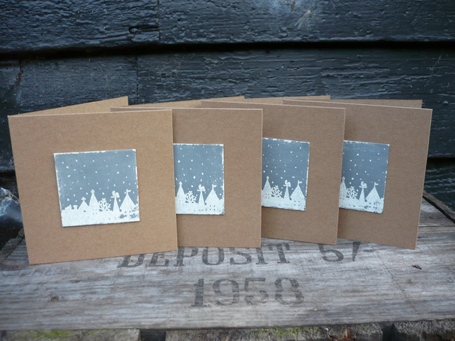 Christmas cards with village snow scene