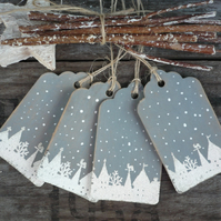 Christmas snow scene on a gift tag