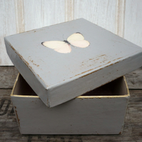 Grey gift box with butterfly