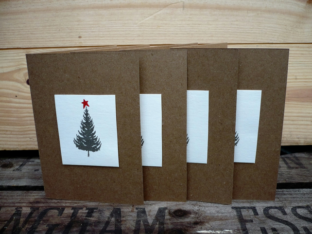 4 handmade christmas cards with embossed silver christmas tree
