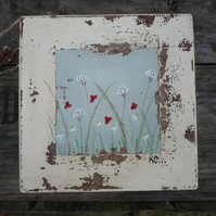 Gift box with a painted meadow scene