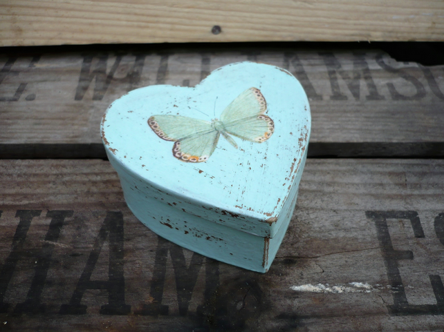 Heart shaped gift box with decoupaged buterfly