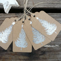 Kraft tags with embossed silver christmas tree