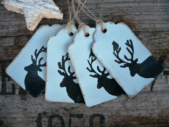 Handmade gift tag with stag and bird