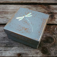 Decoupaged gift box with dragonfly