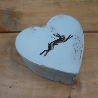 Small heart shaped gift box with hare