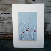 Hand painted greetings card with meadow