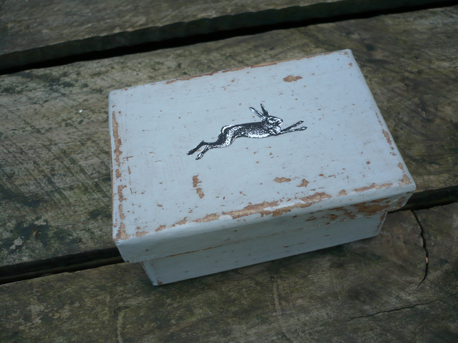 Small gift box with decoupaged hare