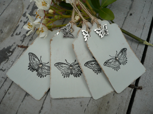 Butterfly gift tags hand printed