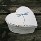 Heart shaped dragonfly gift box or trinket box