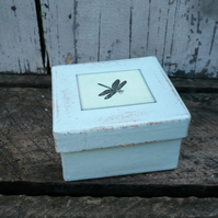 Small decoupaged gift box with dragonfly