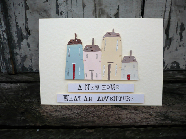 Hand painted greetings card for new home
