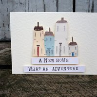 Hand made, hand painted card for new home, greetings card,new home card