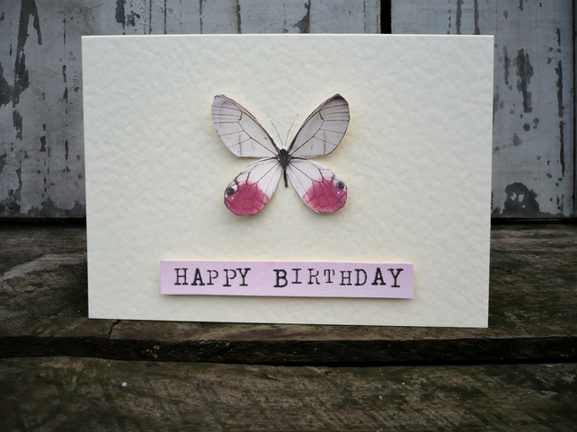Hand made birthday card with butterfly