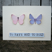 Hand made greetings card for a wedding