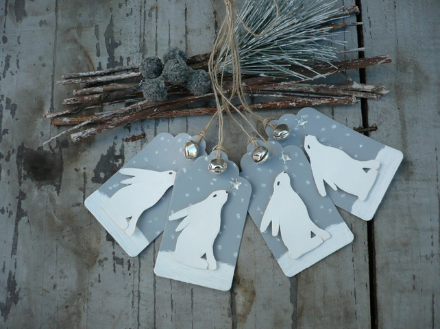 Christmas winter hare gift tags