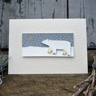 Christmas card with hand painted polar bear,hand made card