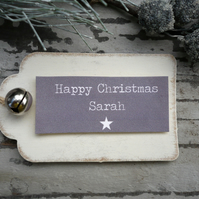 Personalised christmas gift tags, gift labels, grey and white gift tags