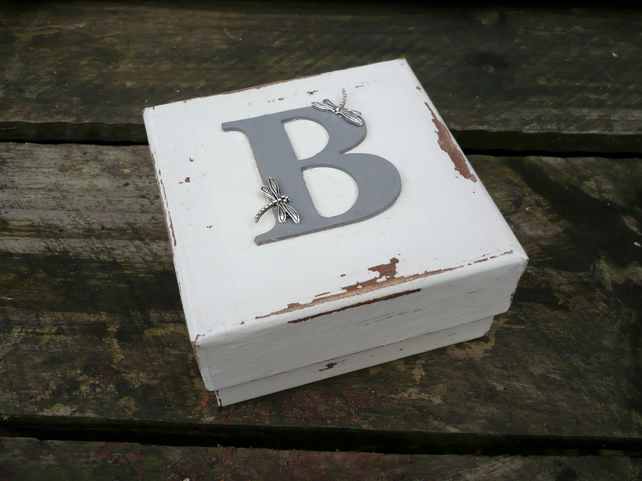A personalised gift box with initial, gift box with dragonflies, keepsake box