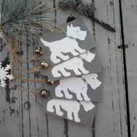Hand made christmas gift tags with a dog, embossed gift labels, gift wrap