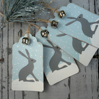 Hand made hare christmas gift tags, gift labels, gift wrap