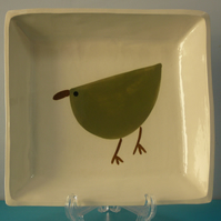 Ceramic Khaki Bird Dish
