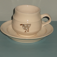 Ceramic Beige Spotted Bird Teacup with Cream Saucer