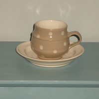 Ceramic Beige Spotted Teacup and Cream Saucer