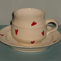 Ceramic Red Heart Teacup and Saucer